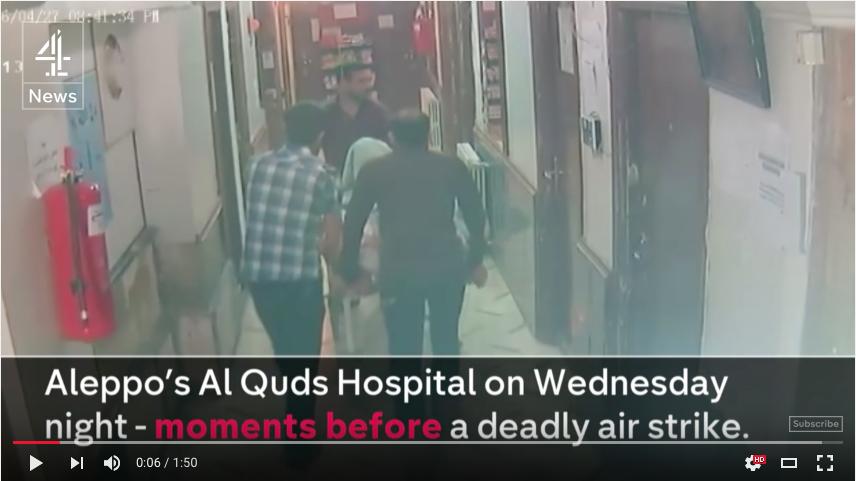 Imagini preluate de la o cameră de supraveghere din interiorul spitalului al-Quds din Alep, cu câteva momente înaintea atacului